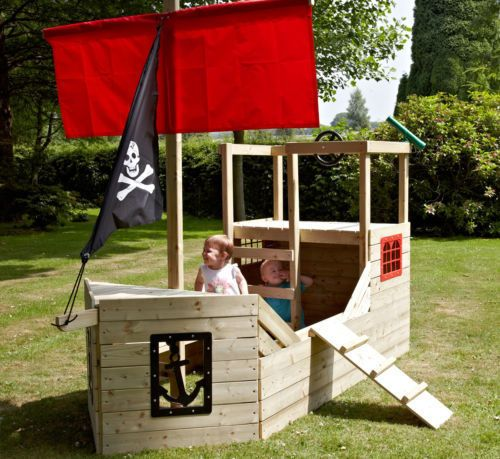 Pirate Galleon Playship Wooden Boat Ship Outdoor Climbing Deck Frame Kids  Toys