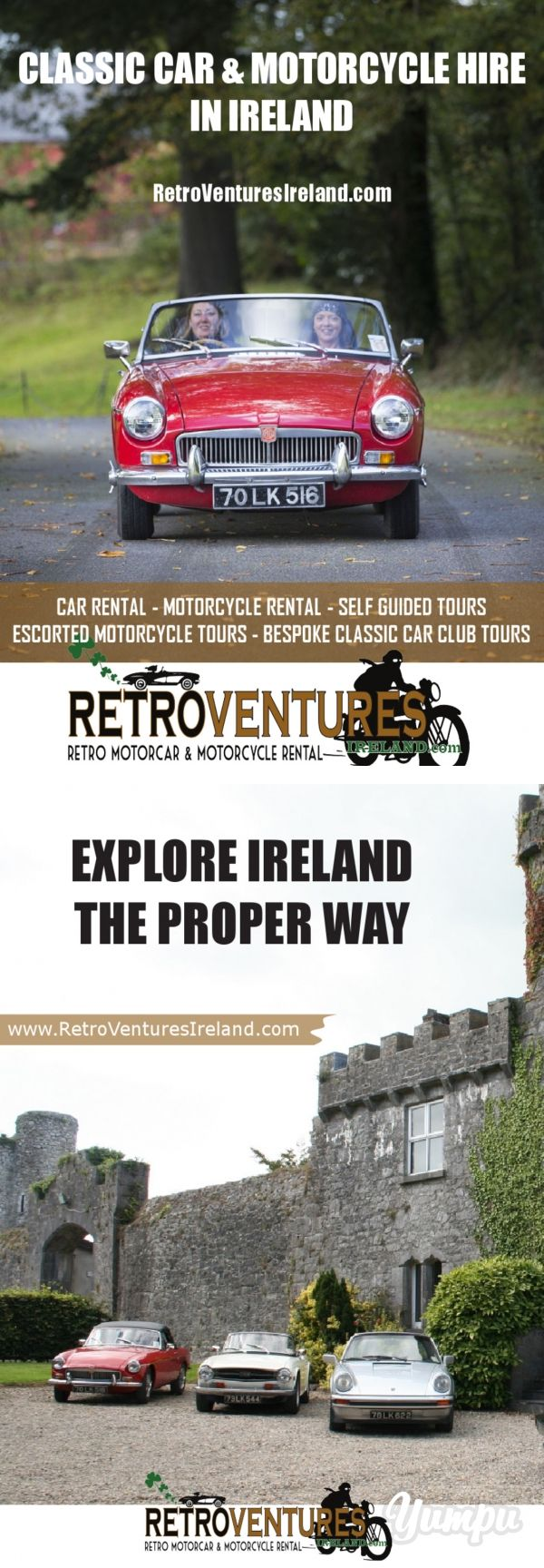 CLASSIC CAR & MOTORCYCLE HIRE IN IRELAND - Magazine with 8 pages: