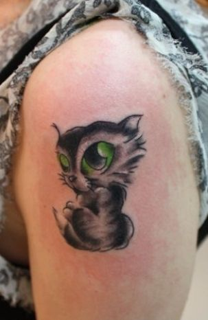 Big green eyes cat tattoo tattoos my style pinterest for Cat eyes tattoo designs