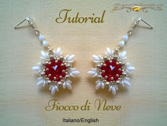 Fiocco di Neve Earrings ( PDF Beading tutorial color graphics pictures in Italian or in English)