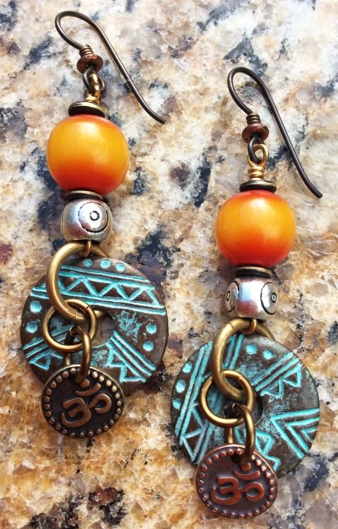 Custom Amber Resin, Silver, Patinaed Disc and Om Charm Earrings $50Contact me to purchase