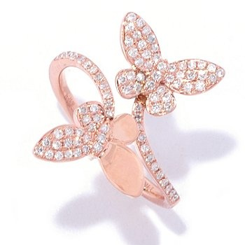 EFFY 14K Rose Gold 0.30ctw Diamond Butterfly Duo Bypass Ring