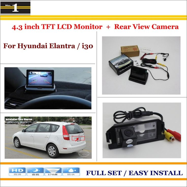 "Auto Back UP Reverse Camera + 4.3"" Color LCD Monitor = 2 in 1 Rearview Parking System - For Hyundai Elantra Touring / i30"