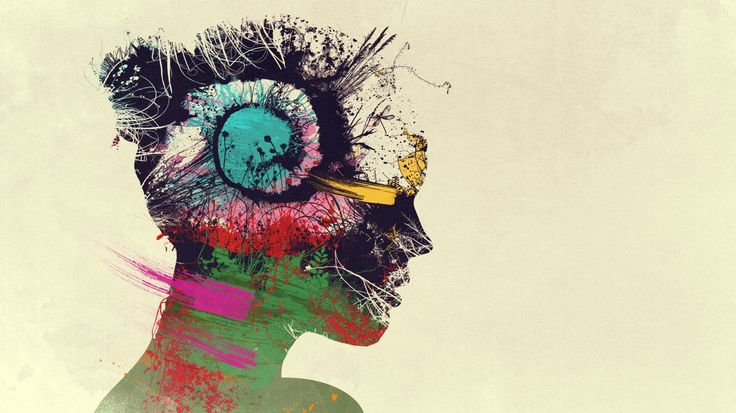 1366x768 Wallpaper explosion, thoughts, girl, paint