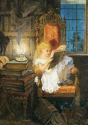 Wonderland (c. 1870).  Adelaide Claxton (1840-1900).  Girl is reading Grimm's Goblins, with Arabian Nights and Lancashire Witches in her stack.: