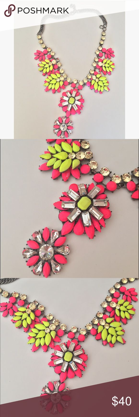 Neon yellow and pink statement necklace from Lotus Trendy necklace that looks amazing on! Photographs beautifully. Great for a night out!! Jewelry Necklaces