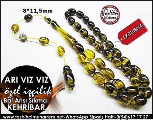 Özel İşçilik Sarı Siyah Damarlı Sıkma Kehribar Tesbih 8*1,5 mm Arı Vız VızÜrün Kodu: TM7922