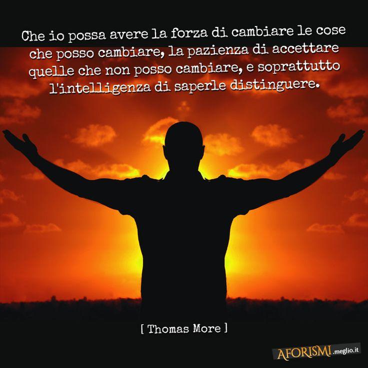 Che io possa avere la forza di cambiare le cose che posso cambiare, che io possa avere la pazienza di accettare le cose che non posso cambiare, che io possa avere soprattutto l'intelligenza di saperle distinguere. (Thomas More)