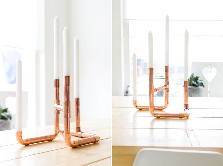 DIY! Stoere Koperen Kandelaar http://brenstijl.blogspot.nl/2014/11/diy-stoere-koperen-kandelaar.html