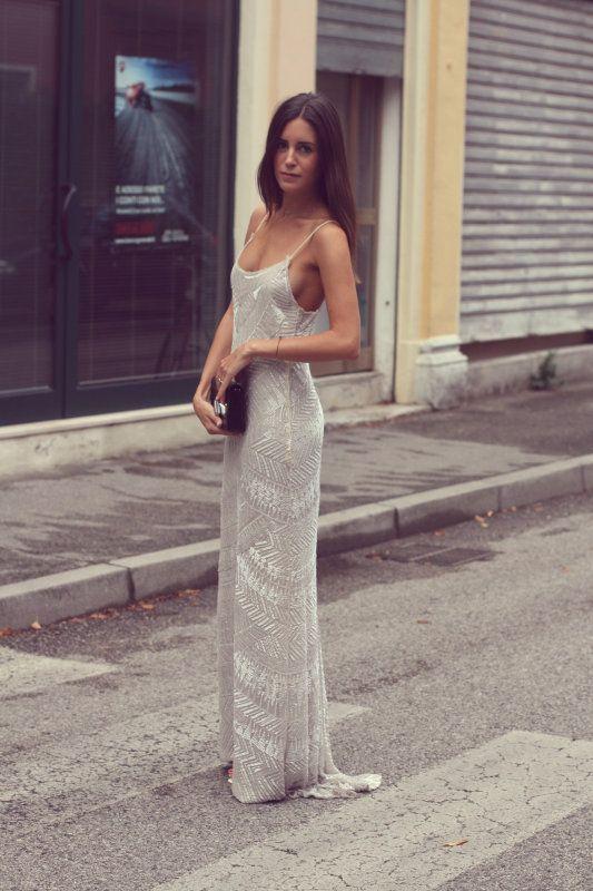 Vestido plata largo con tirantes finos