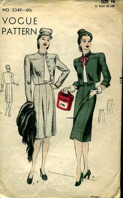 Vogue 5349 ©1945 suit: bolero & skirt #woman #fashion #style