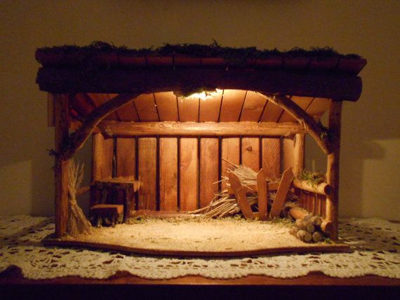 Nativity Stable, Manger, Crèche, Barn. Handcrafted in USA. Dimensions are 19 wide, 8 deep. Height graduates from 8 in back to 11 in front.