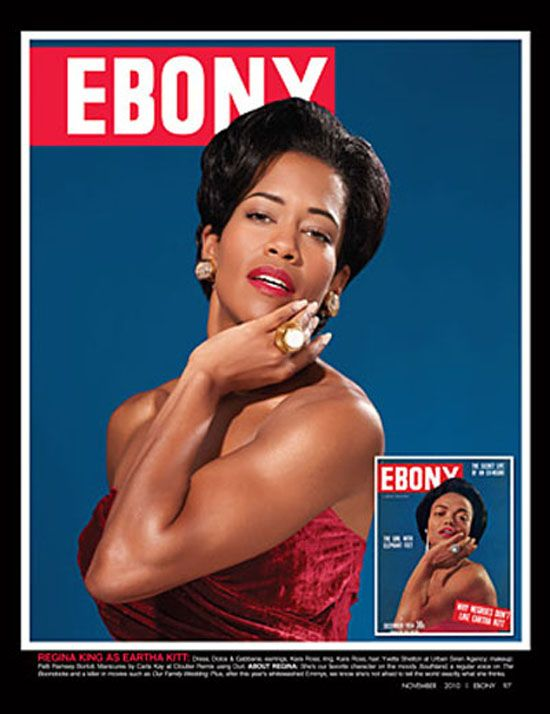 Regina King as Eartha Kitt. (65th Anniversary special edition cover of Ebony)