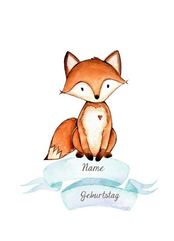 Name picture Fox children poster for birth children picture print forest animals – Judith Zühlke