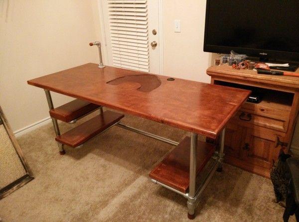 1000 images about pipe desks on pinterest industrial custom desk and adjustable height desk. Black Bedroom Furniture Sets. Home Design Ideas