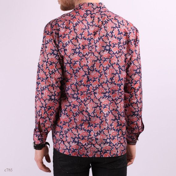 Vintage Mens Paisley Shirt / Silk Shirt in Navy by BetaPorHomme, $36.00