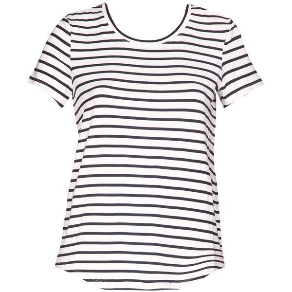 HARD TO BEAT Black and White Striped T-Shirt ($39) ❤ liked on Polyvore featuring tops, t-shirts, shirts, striped top, stripe top, striped tee, stripe tee and black white stripe top