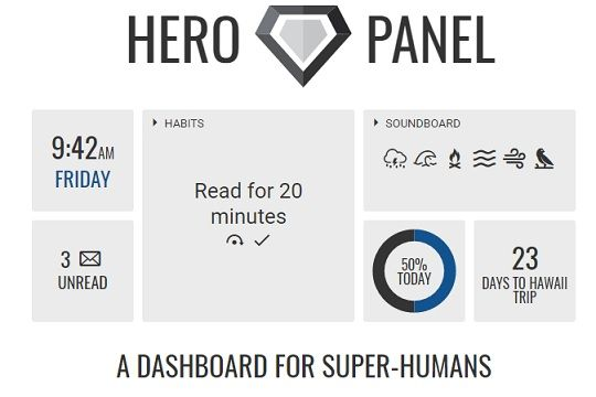 With Hero Panel on your browser there's no more need for switching between tabs, apps or devices. If you set it as your home page you can choose the tools from among a wide range of tools & get a fast 1-glance panel that syncs with the Cloud.
