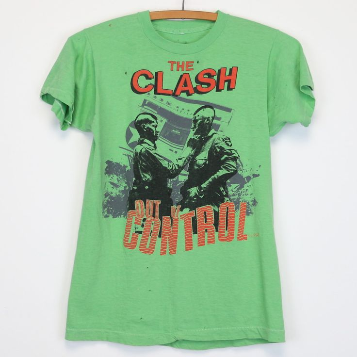 Original 1984 Clash Out Of Control Tour Shirt. This is a true vintage shirt, not a modern reproduction. Sizes vary so please use measurements for best idea on fit. Front and Back Graphics. Shirt is in worncondition, no stains, multiple holes in front and back.