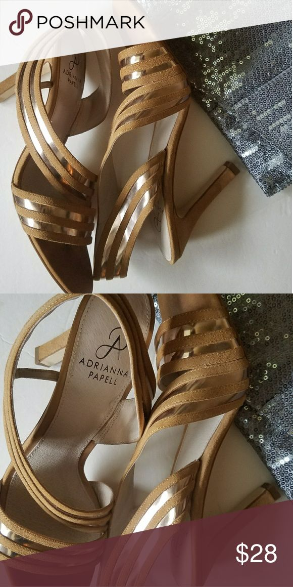 ADRIANNA PAPELL CAMEL&SILVER Beautiful camel strappy heel with silver strap insert. Worn twice, in excellent condition! Adrianna Papell Shoes Heels