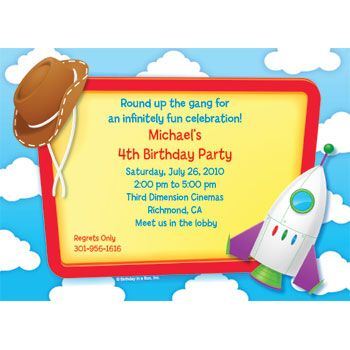 Google Image Result for http://www.amazingmoms.com/assets/cms/images/parties/toy-story-3-party-invitations.jpg: Stories Parties, B Day Parties, Birthday Parties Ideas, 3Rd Birthday, Toys Stories Invitations, Birthday Party Ideas, Toys Stories Birthday, Fiestas Toys, Birthday Ideas