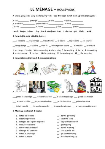 a worksheet to introduce and practise talking about housework & chores in French. Good for Yr8 é Yr9