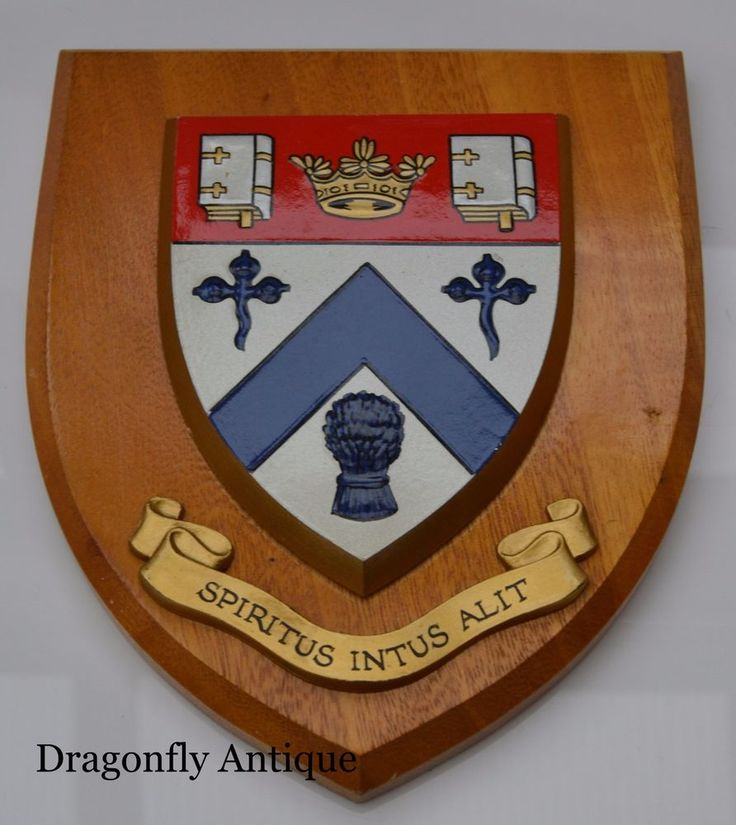 SUPERB Vintage Heraldic Shield Clifton College Bristol Crest School University