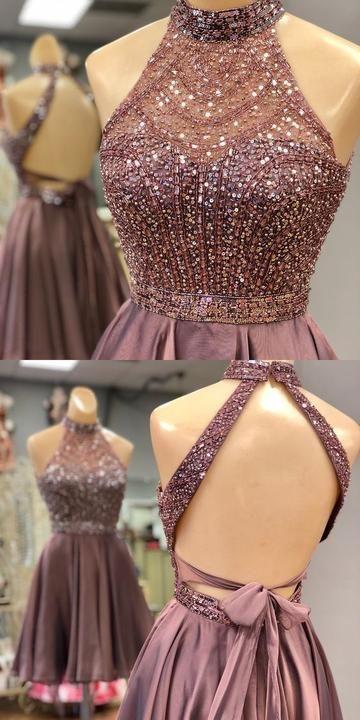 Dazzling Open Back Halter Short Homecoming Dress,Sweet 16 Graduation Dress S238