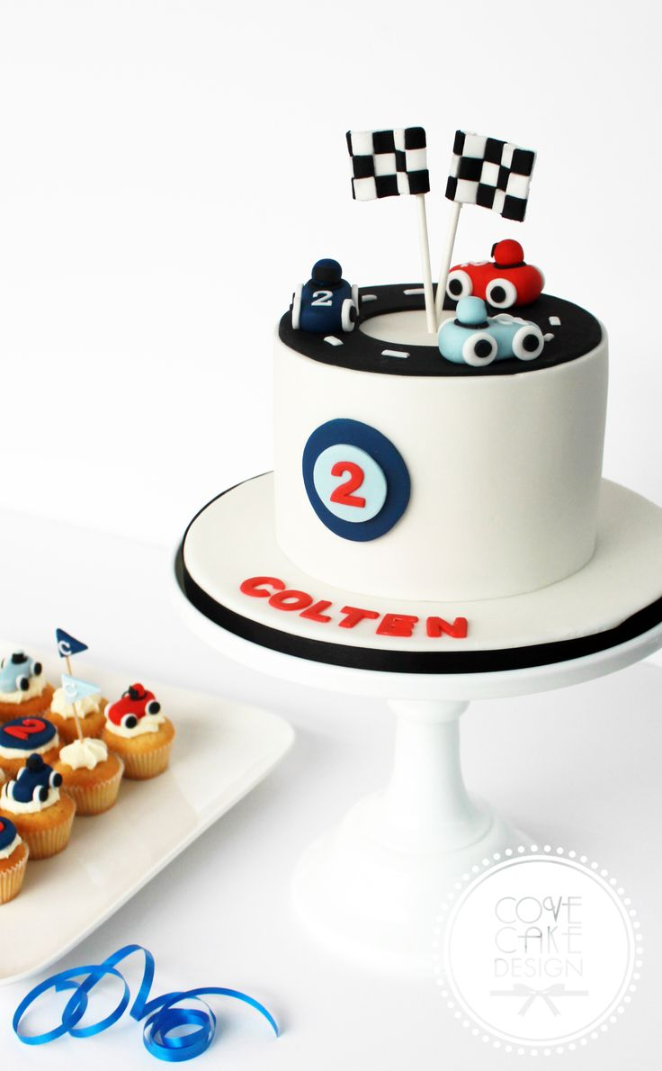 Boys vintage racing car birthday cake