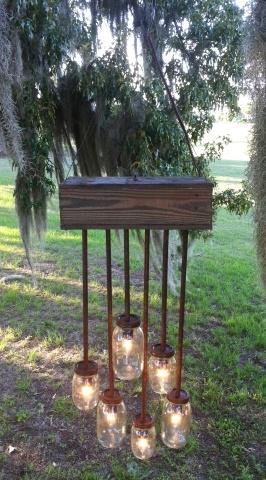 Mason Jar and Barn Wood Hanging Light
