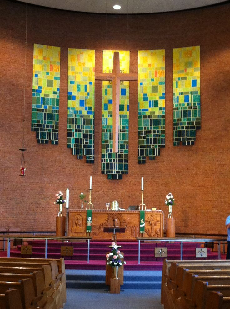 New Banners for the Season of Pentecost at Zion Lutheran Church Youngstown, OH Dedicated 7/12/14  My own creation. I was inspired by quilting and the subtle use of color and textures.