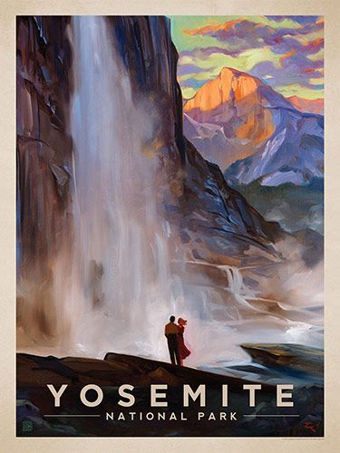 Yosemite National Park: Yosemite Falls - Anderson Design Group has created an award-winning series of classic travel posters that celebrates the history and charm of America's greatest cities and national parks. Founder Joel Anderson directs a team of talented artists to keep the collection growing.