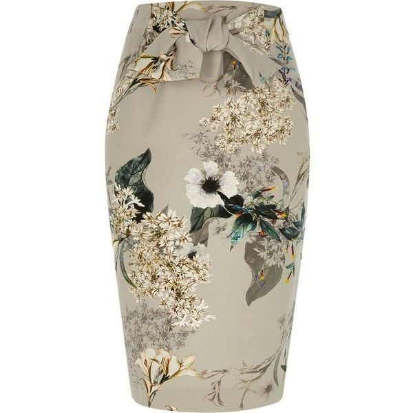 River Island Grey floral tie front pencil skirt ($30) ❤ liked on Polyvore featuring skirts, grey, sale, women, tall skirts, gray skirt, knee length pencil skirt, floral printed skirt and flower print pencil skirt