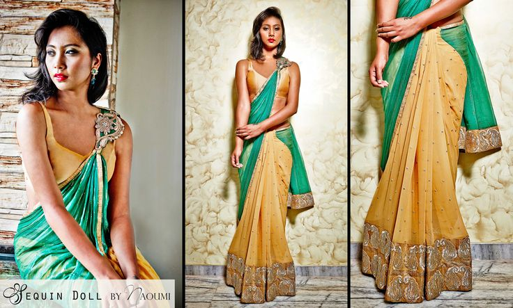 SD 003- A Green and gold georgette & chiffon sari. Pleats of gold georgette with sequin work and paisley sequin border, along with an emerald green chiffon pallu with gold zari work . This sari has a stitched pallu with brooch detailing. Traditional look with a modern silhouette perfectly combined in one sari! To book an order for this sari, contact us with the style code SD 003. contact: +919892224228 Email: naoumi.clothing@gmail.com or message us www.facebook.com/naoumi.clothing