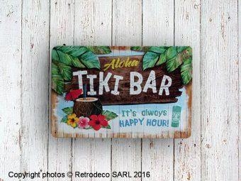 Plaque décorative Tikki Bar, déco bistro, Nostalgic Art