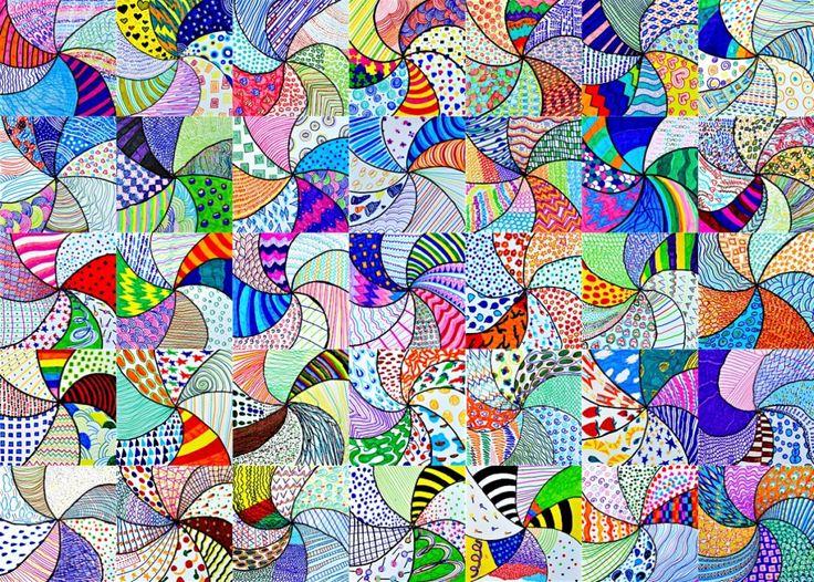 Ecco un colorato vortice di texture grafiche, ideate dagli studenti di prima media per mettere alla prova la loro libertà creativa. Le istruzionida seguire per la realizzazione del disegno a penna…