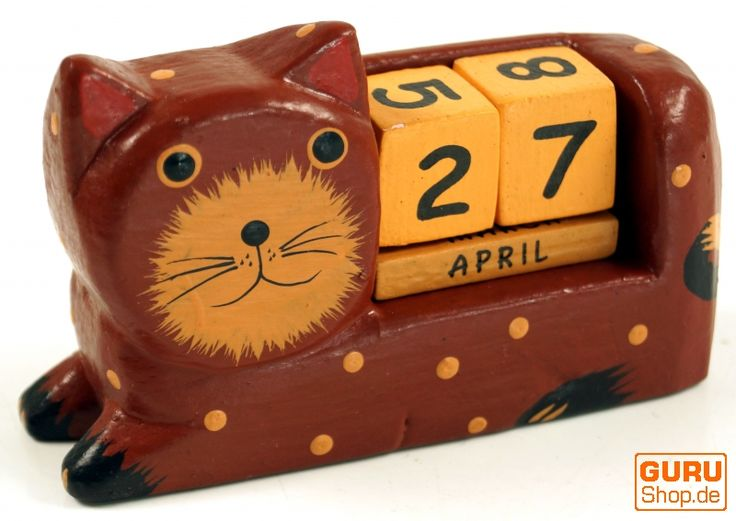 Holz Kalender Katze /