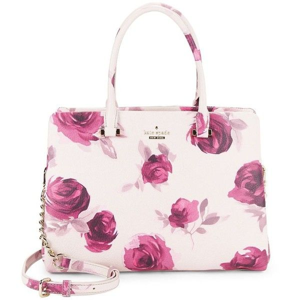 Kate Spade New York Olivera Floral Satchel ($468) ❤ liked on Polyvore featuring bags, handbags, plum dawn, pink leather purse, pink purse, kate spade purses, floral leather handbags and satchel purses