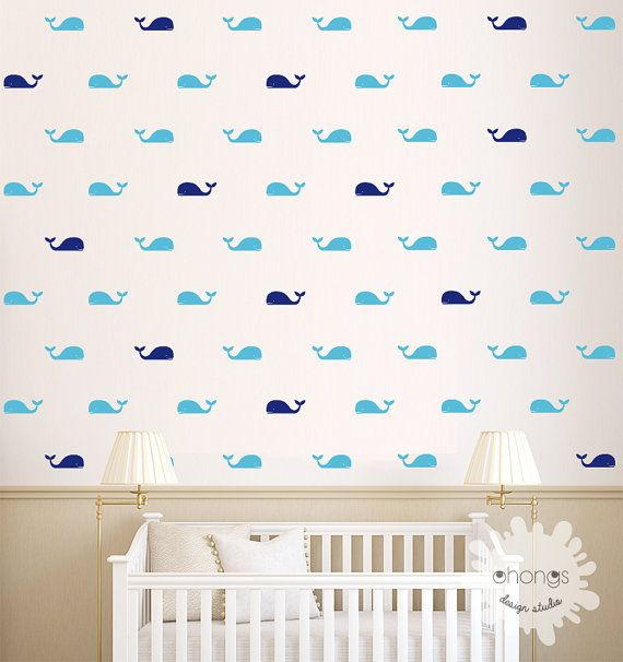 Whale Wall Decal / Fish Wall Decal / 60 by OhongsDesignStudio