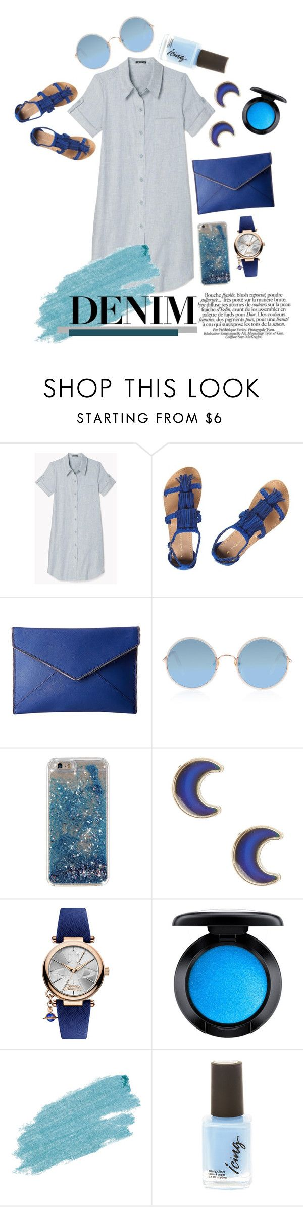 """Denim Shirtdress"" by karimaputri on Polyvore featuring Dorothy Perkins, Rebecca Minkoff, Sunday Somewhere, claire's, Vivienne Westwood, MAC Cosmetics, Jane Iredale and shirtdress"