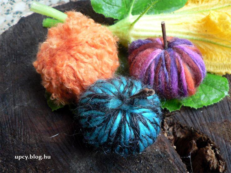 Pumpkin made of chestnut, wrapped with yarn. Gesztenyéből színes kis tök - útmutató.