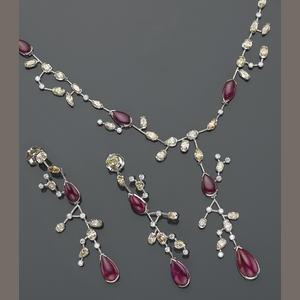 A set of ruby, colored diamond, diamond and platinum jewelry