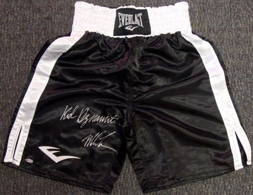 """Mike Tyson Autographed Everlast Boxing Trunks """"Kid Dynamite"""" TriStar"""