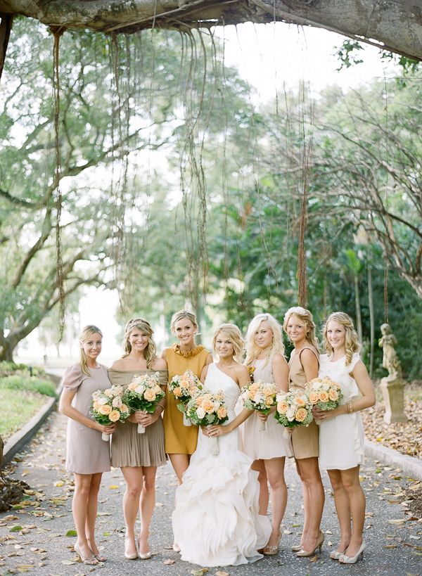 mismatched bridesmaid dresses. photo by @Jessica Lorren