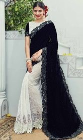 Designer Half N Half Sari in Off White and Black Color Net Velvet  #bandhanidesignersarees #indiandesignersari Glam up with a swirl of magical beauty with this designer half n half sari in off white and black color net velvet. The lovely lace, stones and resham work a significant element of this saree. Upon request we can make round front/back neck and short 6 inches sleeves regular saree blouse also. USD $ 279 (Around £ 193 & Euro 212)