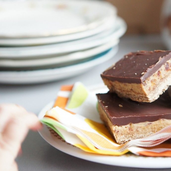 No-bake chocola caramel zeezout reep, gebruik glutenvrije producten