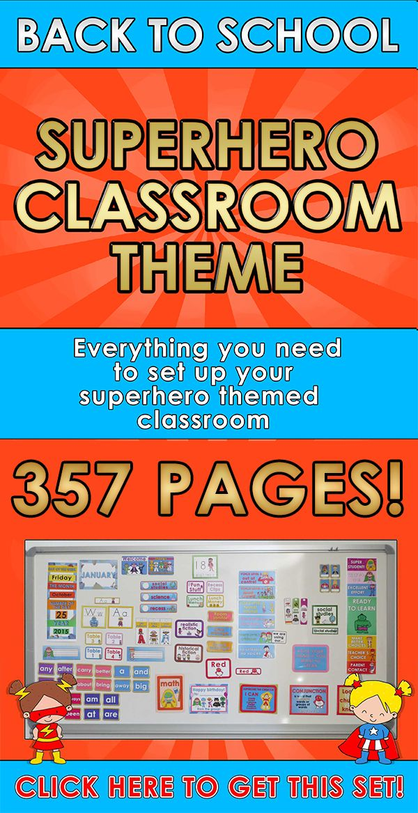 Back to School - SUPERHERO CLASSROOM THEME Everything you need to set up your superhero themed classroom! This pack includes 357 pages! $