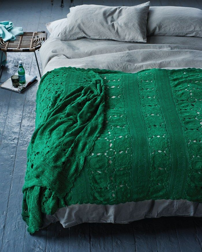 Hand crocheted cotton throw in two rich colours. For the end of the bed or to drape over a chair. TOAST