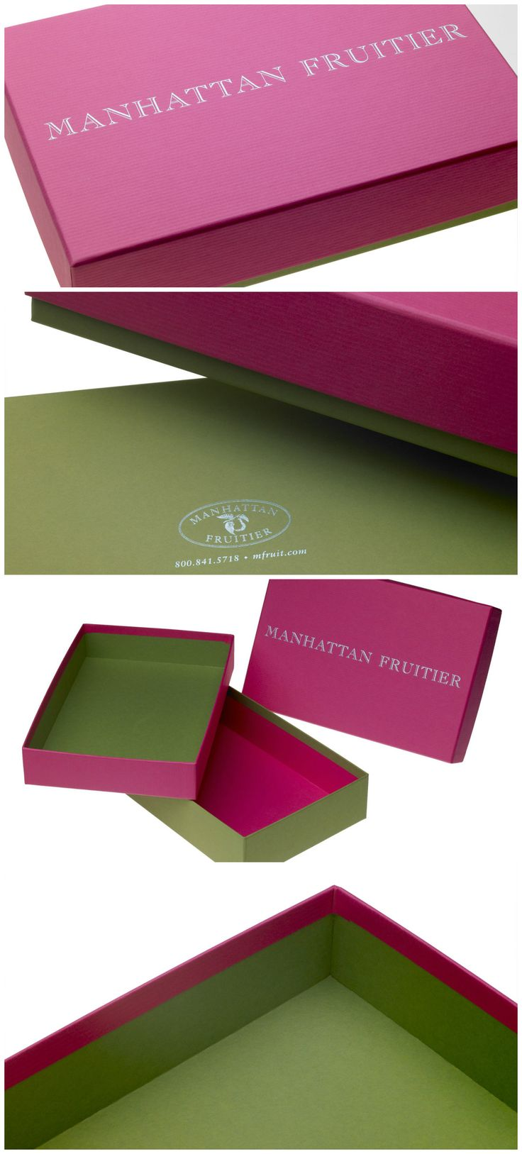 Taylor Box Company- Manhattan Fruitier   A colorful base and lid construction for Manhattan Fruitier's specialty cupcakes.   #design #box #packaging #cupcakes #handmade #custom #manufacturing #madeinusa