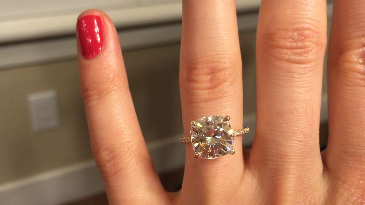 My yellow gold 9.5×9.5 cushion forever brilliant Moissanite! | Weddingbee Photo Gallery